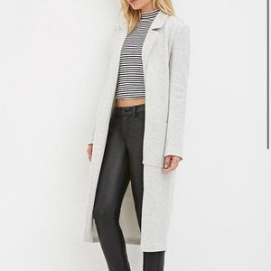 Heather grey casual long jacket
